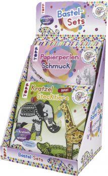 Rundum Kunterbunt Kratzel-Stecktiere/ Papierperlen-Schmuck Display, 2x 6 Ex.