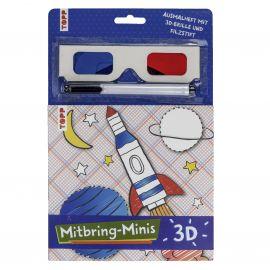 Mitbring-Minis 3D-Ausmalheft mit 3D-Brille und Filzstift, VE= 5 Ex.
