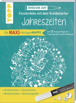 Maxi-Vorlagenmappe Fensterdeko mit dem Kreidemarker - Jahreszeiten. Inkl. Original Kreul-Kreidemarker, Sticker und Glitzer-Steinchen
