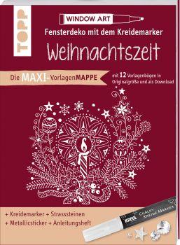 Maxi-Vorlagenmappe Fensterdeko mit dem Kreidemarker - Weihnachtszeit. Inkl. Original Kreul-Kreidemarker, Sticker und Glitzer-Steinchen