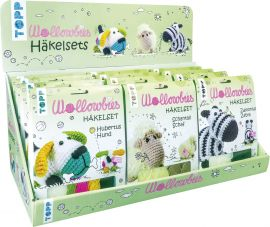 Wollowbies Häkelsets Zebra/ Schaf/ bunter Hund Display,  3x 4 Ex.