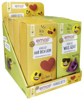 Emoji Häkelsets Display, 2x 4 Ex.