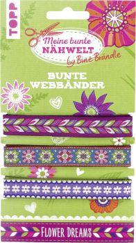 Bine Brändle Bunte Webbänder Flower Dreams, VE= 3 Ex.