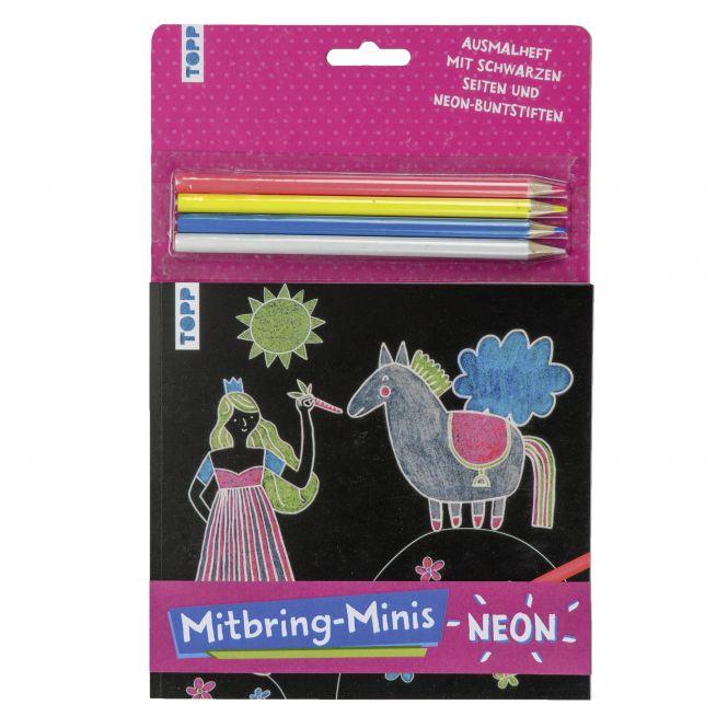Mitbring-Minis Schwarzes Ausmalheft mit Neon-Buntstiften, VE= 5 Ex.