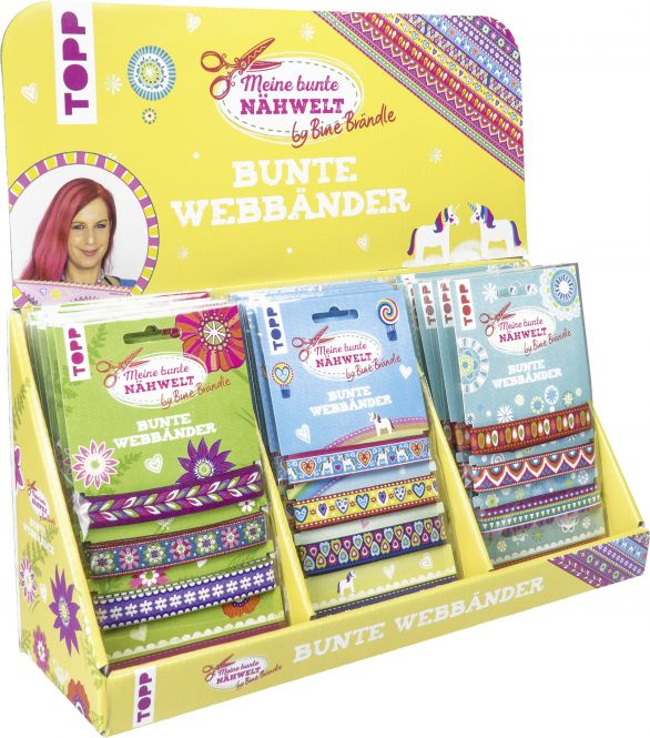 Bine Brändle Bunte Webbänder Display, 3x 6 Ex.