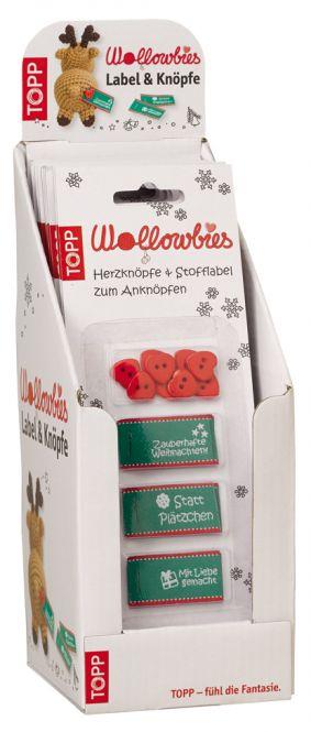Wollowbies Label + Knöpfe Weihnachten Display, 10 Ex.