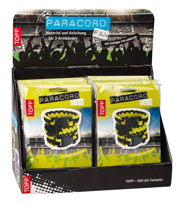 Paracord Fan Display schwarz-gelb, 10 Ex.