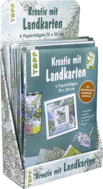 Kreativ mit Landkarten 4 Papierbögen 50 x 70 cm Display, 8 Ex.