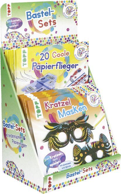 Rundum Kunterbunt Papierflieger/ Kratzel-Masken Sets Display, 2x 6 Ex.